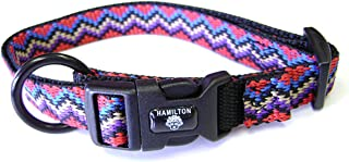 Hamilton 5/8-Inch Adjustable Dog Collar, Large, Fits 12-Inch by 18-Inch, Black Weave Pattern