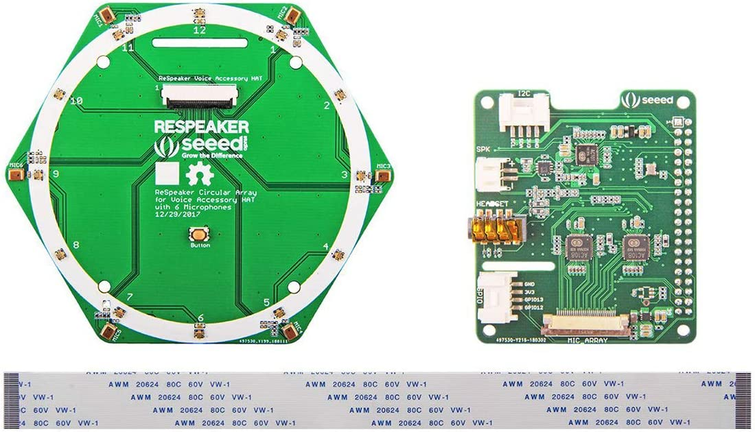 Seeed Studio ReSpeaker 6-Mic Circular Microphone Array Kit Extension Board aka HAT with 2 ADC Chips and 1 DAC chip for Raspberry Pi Supports 8 Input and 8 Output Channels