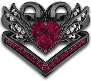 Black Gold Simulated Heart Ruby CZ Bridal Set Ring V Shape Feather Wedding Band(2 PCS)