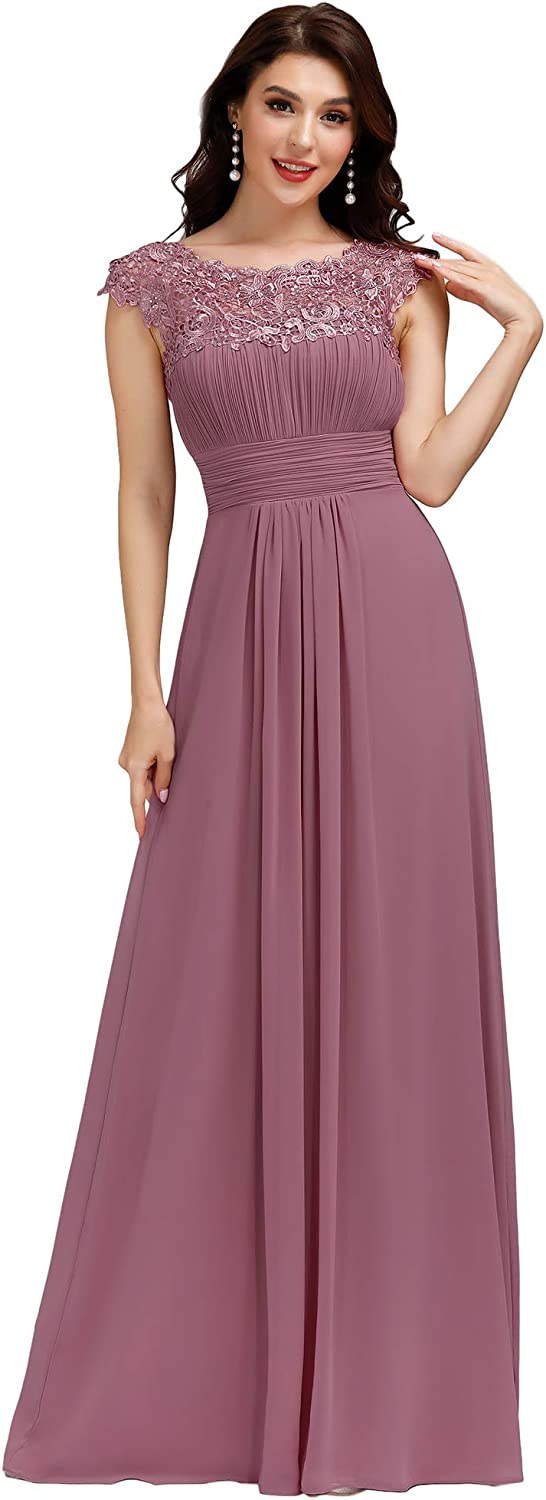 Alisapan Womens Elegant Cap Sleeve Lace Formal Gowns Evening Mother of The Bride Dresses 9993