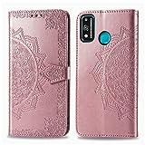 Bear Village Hülle für Huawei Honor 9X Lite, PU Lederhülle Handyhülle für Huawei Honor 9X Lite, Brieftasche Kratzfestes Magnet Handytasche mit Kartenfach, Roségold