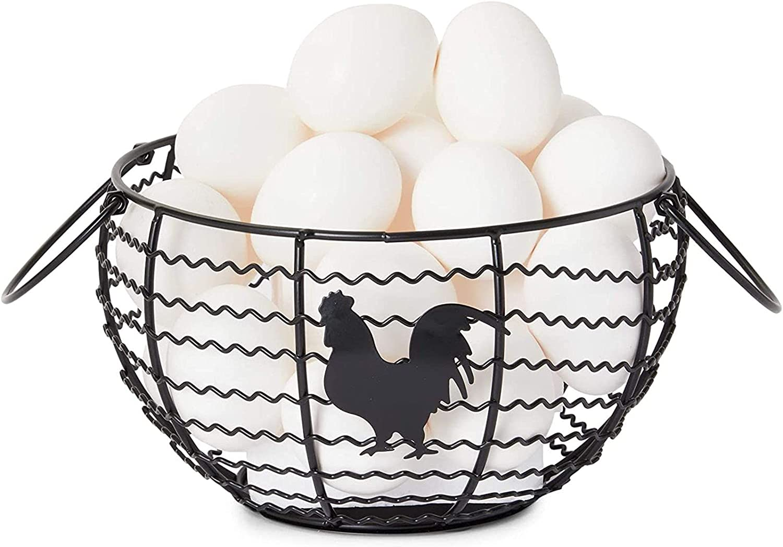 Wire Egg Basket Farmhouse Max 83% OFF Ranking TOP15 Kitchen x Organizer 8.2 Black
