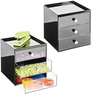 mDesign Boite de Rangement Bureau avec 3 tiroirs – tiroir de Rangement pour stylos, Trombones, Bloc-Notes, etc. – Meuble à...