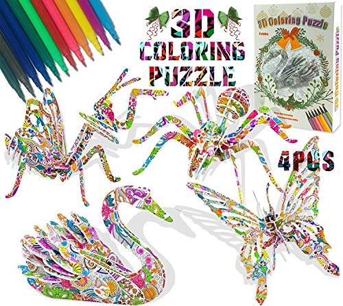 Rompecabezas para Colorear 3D, Juego De Rompecabezas para Colorear 3D DIY Arts Crafts Puzzle Kit De Pintura De Arte y Manualidades para Colorear 3D Niños Niñas Regalo De Cumpleaños 6 7 8 9 Años