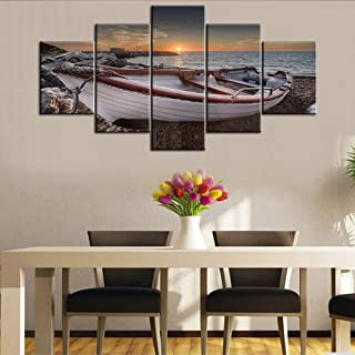 5 Piece Canvas Wall Art For Living Room- Turquoise Red Fishing Boat at Sunrise on Bournemouth Beach with Pier in Far Distance - Modern Home Decor Stretched and Framed Ready to Hang - 60