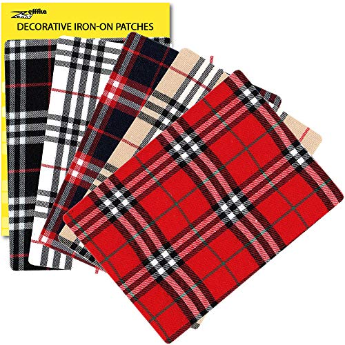 "ZEFFFKA Premium Quality Plaid Fabric Textile Decorative Iron-on Patches Modern Cool Design 5 Pieces 100% Cotton Repair Kit for Jeans or Other Garment 5"" by 7"" (13 cm x 18 cm)"