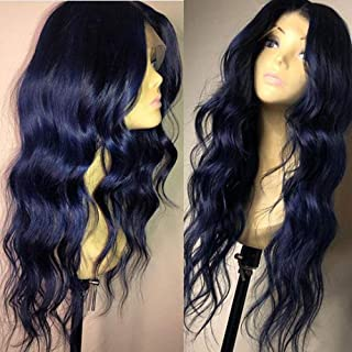 Dark Blue Body Wave Wig With Natural Hairline Wavy Blue Lace Front Wig Heat Resistant Synthetic Wigs For Women