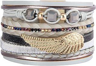 Jeilwiy Braided Leather Bracelet Angel Wing Wrist Cuff Bangle Crystal Wrap Bracelets for Women, Girls, Mom, Wife