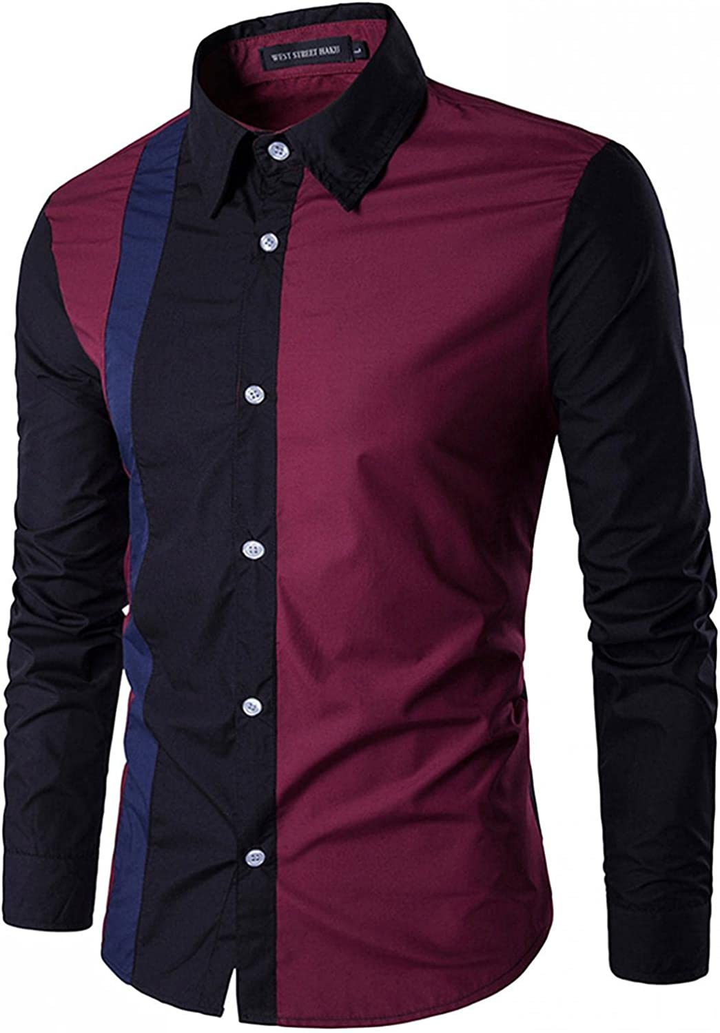 Mens Fashion Regular Fit Long Sleeve Color Block Dress Shirts Casual Button Down Shirts Tops for Mens
