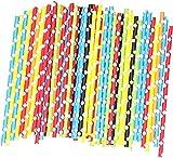 Pajitas de Papel,100 Piezas Pajitas de Cóctel de Colores Pajas de Beber...
