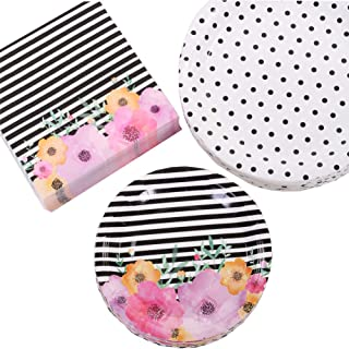 Andaz Press Modern Floral Party Plates and Napkins Set, Bulk 50-Pack, 9-Inch Plates, 7-Inch Plates, 6.5-Inch Lunch Napkins, Flower and Black Stripes Modern Party Tableware Kit, Party Supplies