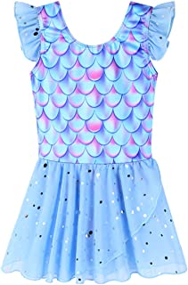BAOHULU Girls Ballet Dance Leotard Tutu Skirted Dress Ruffle Sleeve 3-8Y