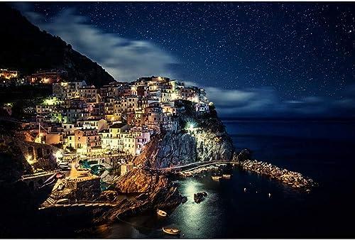 WZJ-Puzzle Beautiful Starry Sky, Vue de Nuit de Londres, Cinque Terre Italienne, Tour Eiffel, Puzzle en Bois Adulte 500 1000 (Couleur   E, Taille   1000pcs)