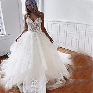LSY&JJ Wedding Dresses Sweetheart Appliques Lace Spaghetti Straps Custom Made White Ivory Bridal Gowns Sexy Maxi Off Shoulder Deep V Dress