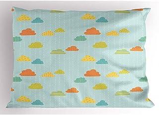 4 Piezas 18X18 Pulgadas Funda De Almohada Doodle,Demostración De Rayas Verticales con Nubes En Lunares O Rayas,Funda De Almohada Impresa King Size Estándar para Decoración del Hogar