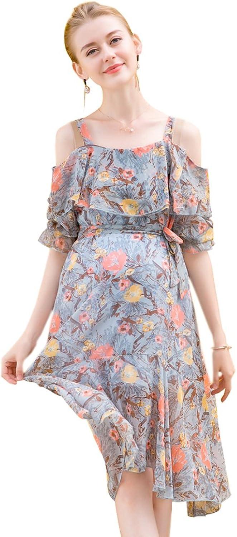 GIFTPOCKET Women's Floral Maternity Dress Off Shoulder Ruffle Tank Dress
