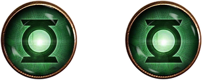 Green Lantern Cufflinks Handmade Justice League Jewelry Pendant Charm Gifts