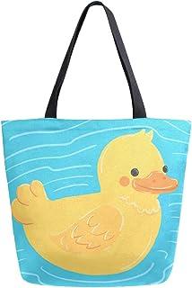 Sinestour Cartoon-Handtasche aus Segeltuch, groß, für Damen und Mädchen, wiederverwendbar, Gelb