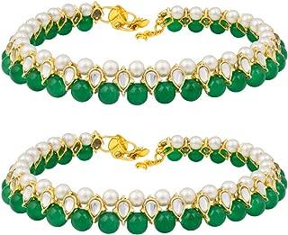Aheli Indian Traditional Ethnic Kundan Anklets Payal Ankle Bracelet Set Wedding Festive Jewelry for Women Girls