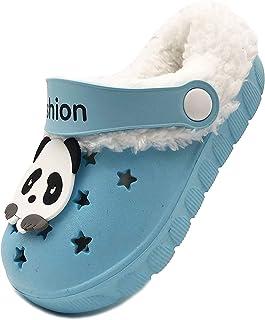 Vorgelen Niños Invierno Zuecos Pelusa Forro Pantuflas Zapatillas de Estar por Casa para Chico Niña Cálidas Zapatos de Jard...