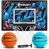 """AND1 Mini Basketball Hoop: 18""""x12"""" Pre-Assembled Portable Over The Door with Flex Rim, Includes Two Deflated 5"""" Mini Basketball with Pump, for Indoor, Orange/Light Blue"""