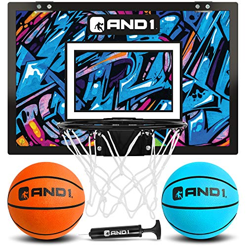 """AND1 Over The Door Mini Hoop: - 18""""x12"""" Pre-Assembled Portable Basketball Hoop with Flex Rim, Includes Two Deflated 5"""" Mini Basketball – Blue/Purple"""