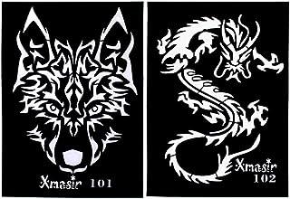 Minkissy 4pcs tattoo schablonen aushöhlen wolf tigerform ta