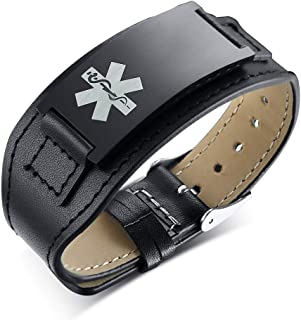 Custom Free Engraving Black Wide Stainless Steel&Leather Adjustable Medical Alert ID Bracelets Wristband for Men Father