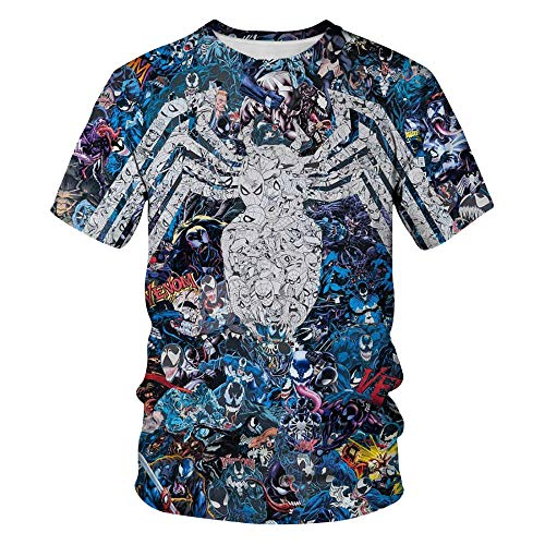 ZSWDBDysq 3D Short Sleeve, Anime Hero Venom Spider Digital Print Pullover Couple T-Shirt