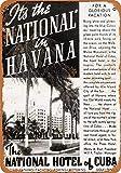 Placa de Metal de 8 x 12 Pulgadas 1938 National Hotel of Cuba en La Habana con Aspecto Vintage