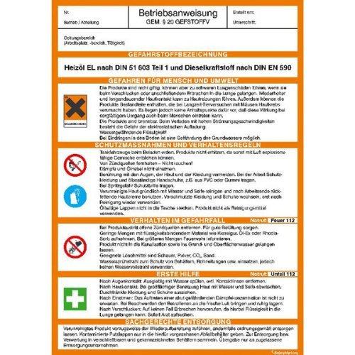 INDIGOS UG - Betriebsanweisung für Heizöl und Diesel gem. GefStoffV, 21x29,7 cm - PVC-Schild
