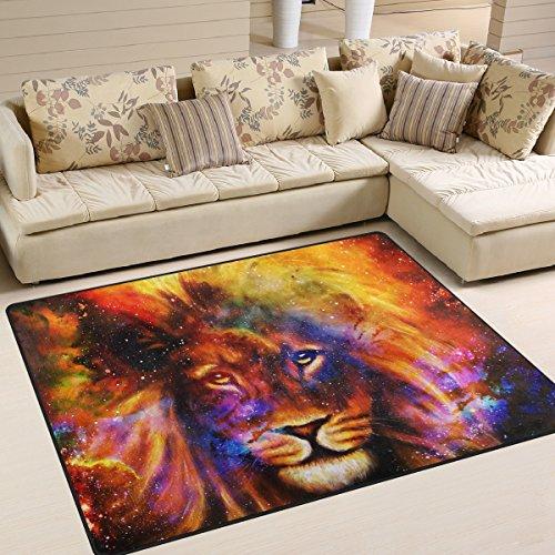 ZZKKO von Bereich Teppich, Löwen in Cosmic Bereich Teppich-Matte für Wohn-Dorm Schlafzimmer Wohnzimmer Küche, Multi, 3'x5'(100x150 cm)