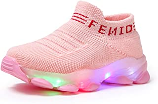 Fashion Trainers LED Breathable Stretch Fabric Sneakers for 1-6 Years Little Kids Toddler Baby...