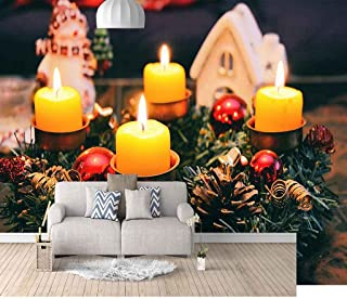 VITICP Adults Kids Wall Stickers Decals Peel and Stick Removable Wallpaper Christmas Yellow Candle for Nursery Bedroom Liv...