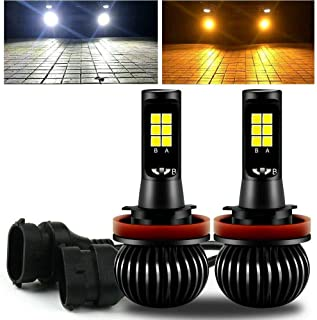 GTP High Power H11 H8 H9 Switchback LED Fog Light Bulb Dual Color 6000K White 3000K Yellow DRL Driving Bulbs Replacement (...