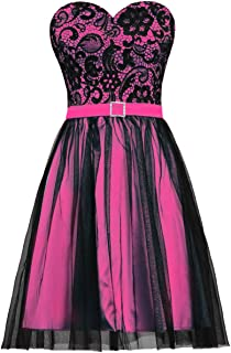 ANTS Women's Black Tulle Lace Evening Prom Dress Short Party Dress