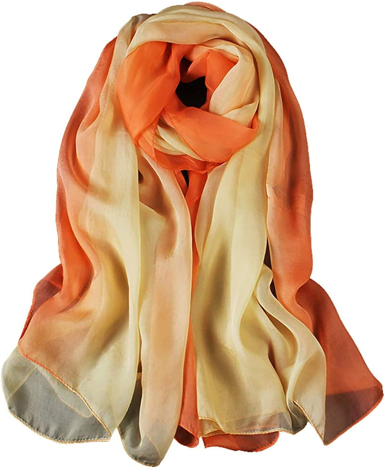 100% Mulberry Silk Shawl, Women Thin Scarves (180×110CM) (color   A)