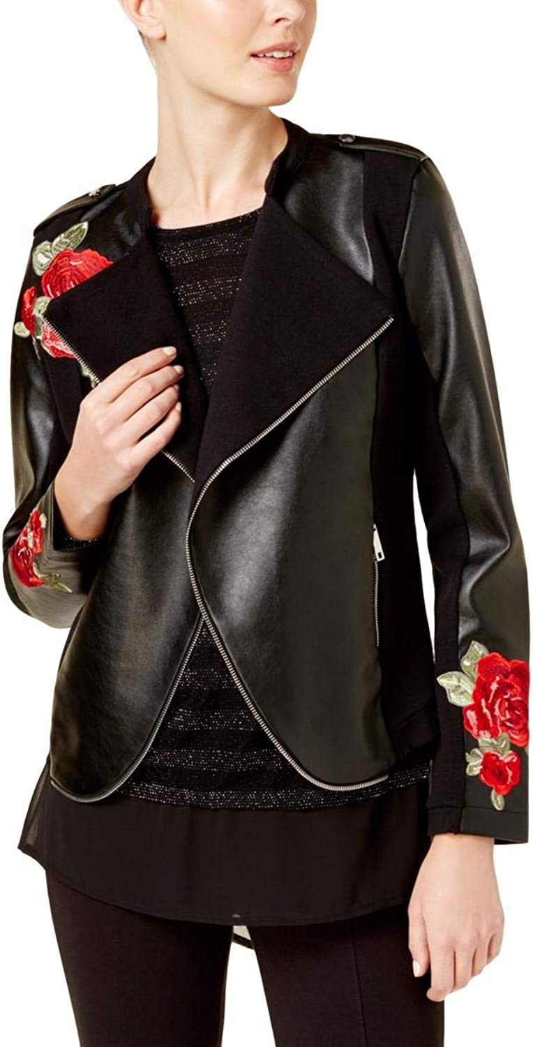INC International Concepts Women's Embroidered FauxLeather Moto Cardigan