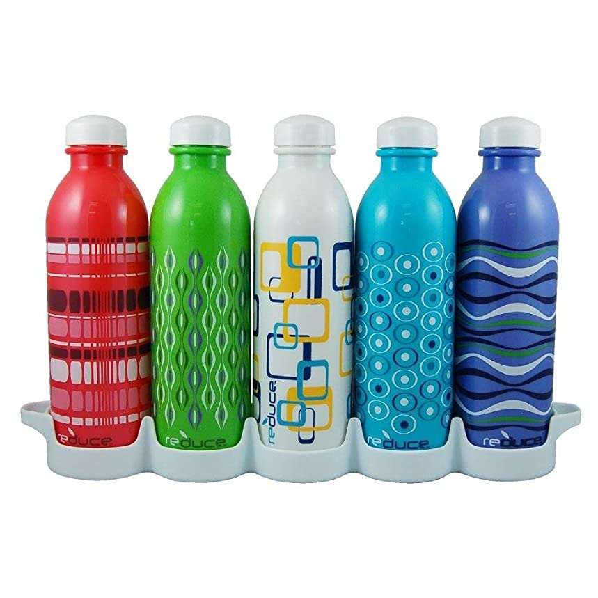 reduce WaterWeek Classic Reusable Water Bottle Set with Fridge Tray Organizer – 5 Flask Pack, 16oz – BPA Free, Leak Proof Twist Off Cap – Assorted Colors - Perfect for Sport - Simply Fill, Chill & Go