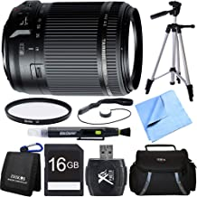 Tamron 18-200mm Di II VC All-in-One Zoom Lens for Canon Mount Bundle with 16GB SDHC High Speed Memory Card, Camera Bag for DSLR, 62mm Multicoated UV Protective Filter and 60 Inch Camera/Video Tripod