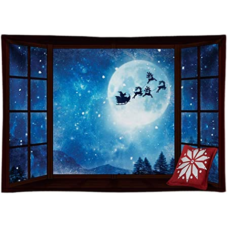 8x8FT Vinyl Photo Backdrops,Santa,Jump on Snowboard Pines Background for Graduation Prom Dance Decor Photo Booth Studio Prop Banner
