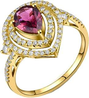 Daesar Anello Oro Giallo Donna 18K,Anelli di Fidanzamento Anello con Tormalina 0.76ct Taglio Goccia con Diamante 0.46ct An...