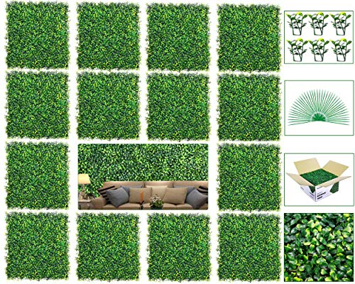 """Newtion 14Pack 20""""x20"""" 38.89 Square Artificial Boxwood Grass Backdrop Panels Topiary Hedge Plant, UV Protected Privacy Hedge Screen Faux Boxwood for Outdoor,Indoor,Garden,Fence,Backyard,Greenery Walls"""