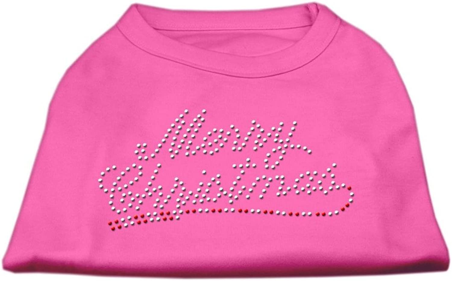Mirage Pet Products 14Inch Merry Christmas Rhinestone Print Shirt for Pets, Large, Bright Pink