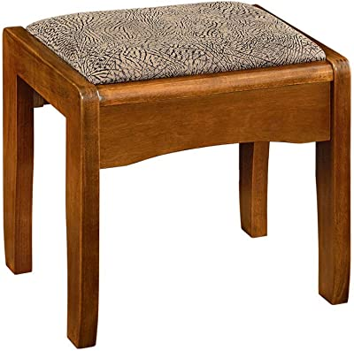 Ottomans Footstools Solid Wood Dressing Stool Bedroom Makeup European Square Stool Simple Modern Makeup Stool (Color : A)