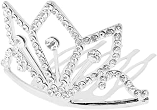 Flameer Fashion Rhinestone Mini Crown Tiara With Hair Comb Hair Clip Wedding Jewelry - Silver, 5 x 4.3 x 3.6 cm