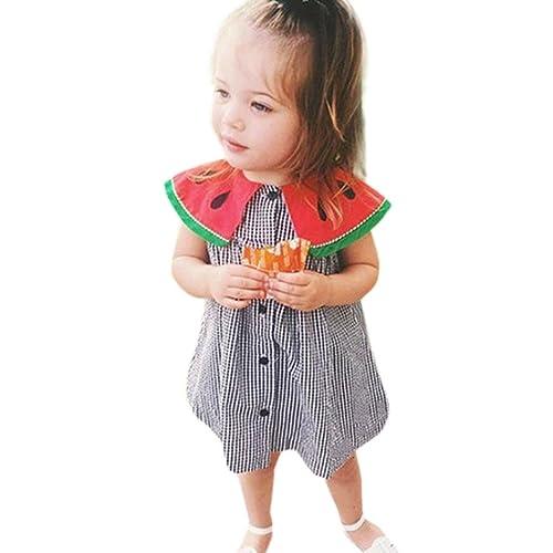 01f40ccae798 Matoen Toddler Newborn Baby Girls Watermelon Collar Plaid Dress Clothes  Outfits