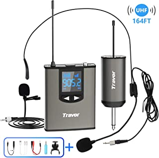 """Travor Wireless Microphone System Headset/Lavalier Lapel Mic 164ft Range with Rechargeable Bodypack Transmitter & Receiver 1/4"""" Output for Live Performances, Support Phone"""
