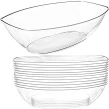12 وعاء طعام بلاستيكي شفاف للحفلات   سعة 1.8 لتر   أوعية تقديم بيضاوية للاستعمال مرة واحدة   أطباق مسطحة شفافة   أوعية صغي...