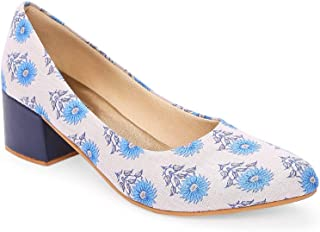 KANVAS Women Ethnic Blue Sunflower Box Heels Shoes